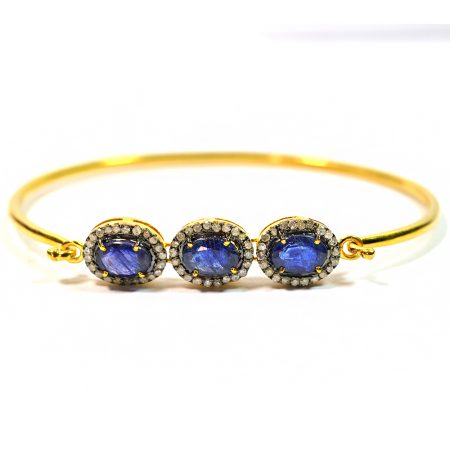 Sapphire Bangle, Gold Plated Pave Diamond Sapphire Gemstone Bangle, Women's Diamond Bangle