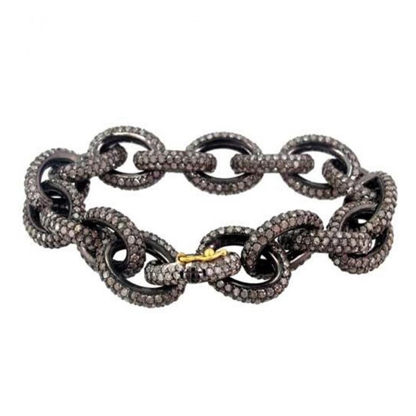 Handmade 925 Sterling Silver Diamond Link Chain Bracelet, Pave Diamond Link Chain Bracelet Jewelry