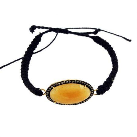 Bracelet Pave Diamond Gemstone Beaded 925 Sterling Silver Yellow Sapphire Jewelry