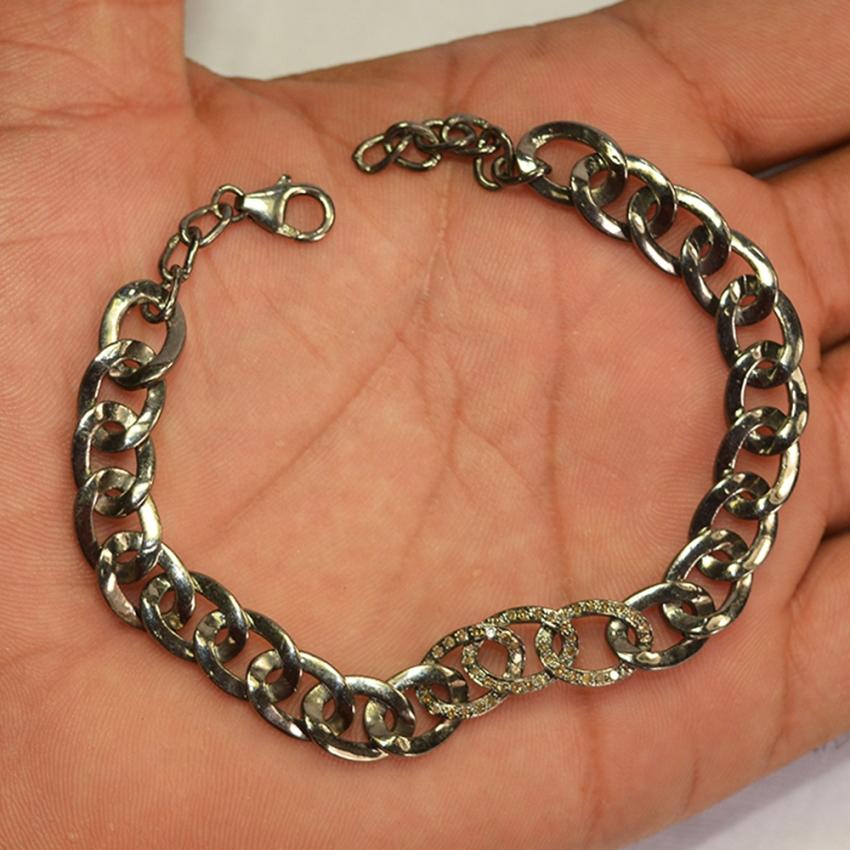 Chain Bracelet. Handmade 925 Sterling Silver Diamond Link Bracelet, Diamond Link Bracelet Jewelry