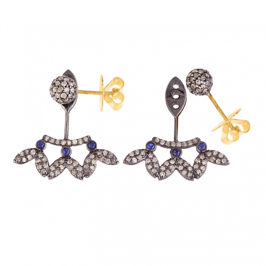 925 Sterling Silver Pave Diamond Sapphire Ear Jacket