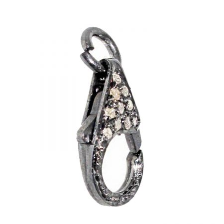 Pave Diamond Lobster Clasp 925 Sterling Silver Lock Finding Jewelry