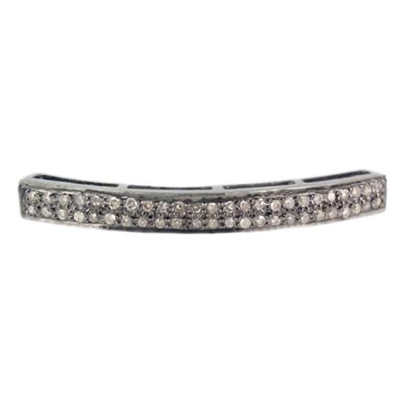 925 Sterling Silver Pave Diamond Bar Spacer Finding, Diamond Bar Spacer Finding, Silver Diamond Bar Spacer Finding