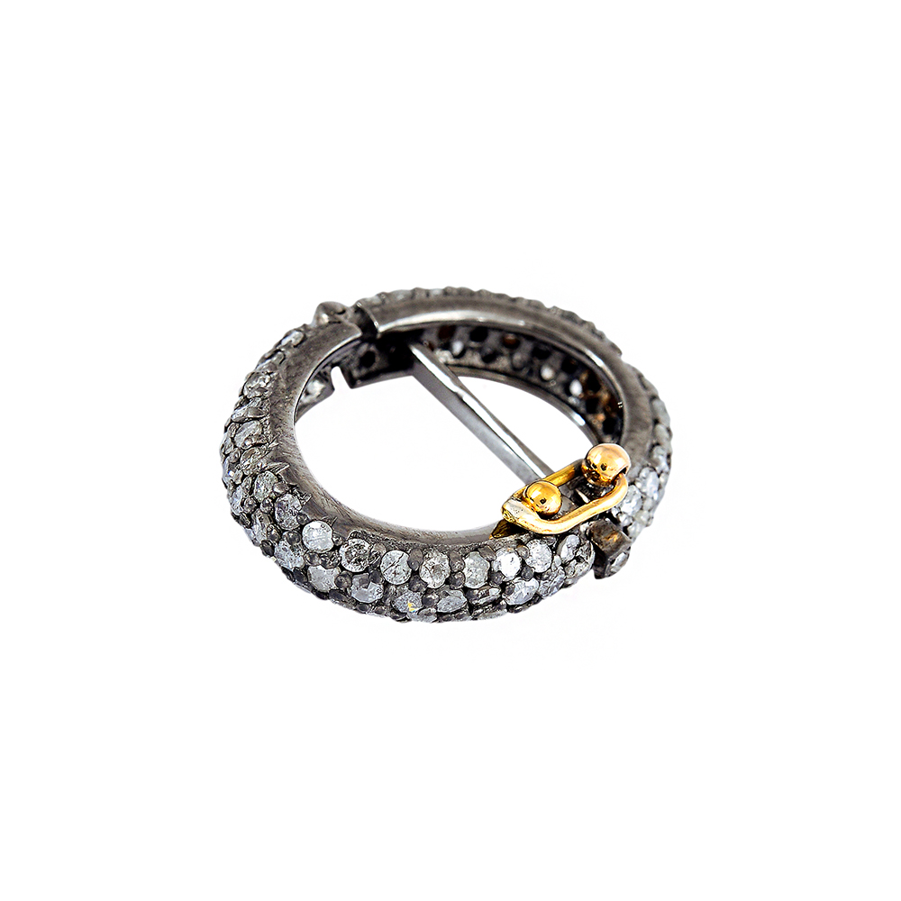 0.89ct Pave Diamond Sterling Silver Round Clasp Lock Finding Jewelry