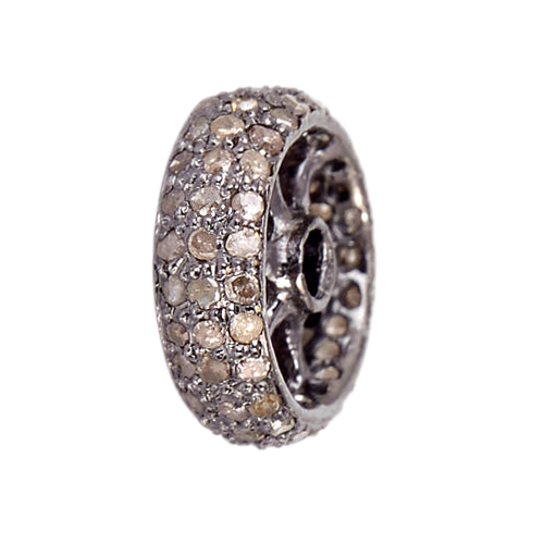 0.5ct Pave Diamond Rondelle Spacer Finding 925 Sterling Silver Jewelry