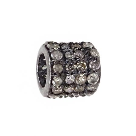 Pave Diamond Vintage Look Roundelle Spacer Beads Finding Sterling Silver Jewelry