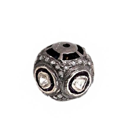 Rose Cut Diamond Bead Ball Spacer Sterling Silver Finding WONDERING Jewelry