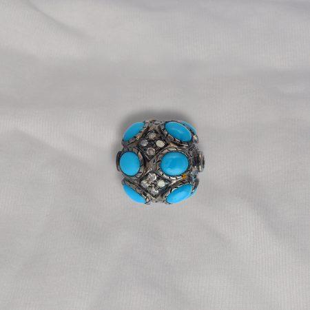 Turquoise Gemstone Finding Beads, Pave Diamond Turquoise Beads, 925 Sterling Silver Gemstone Finding Beads Jewelry