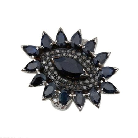 925 sterling silver Jewelry Gems Trade Mart Blue Sapphire Pave Diamond 0.31 Cts Evil Eye Ring