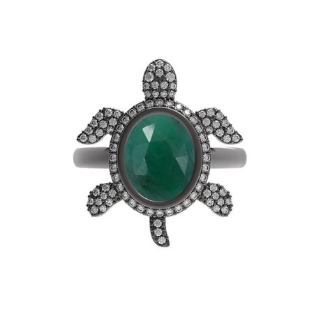 925 sterling silver Jewelry Gems Trade Mart Emerald Pave Diamond 0.53 Cts Tortoise Gemstone Ring