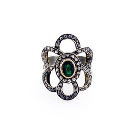 925 sterling silver Jewelry Gems Trade Mart Emerald Pave Diamond 0.80 Cts new design gemstone ring