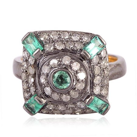 925 sterling silver Jewelry Gems Trade Mart Emerald Pave Diamond 0.44 Cts Midi Ring
