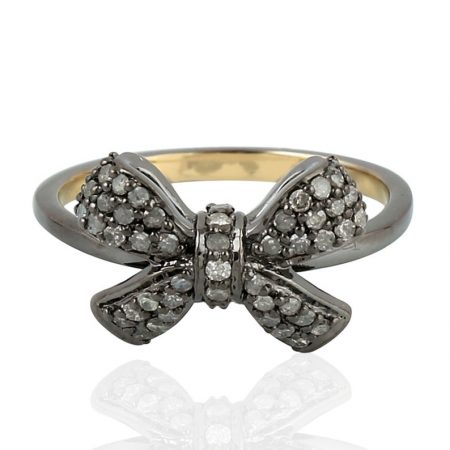 925 sterling silver Jewelry Gems Trade Mart Pave Diamond 0.32 Cts Bow Style Party Wear Ring