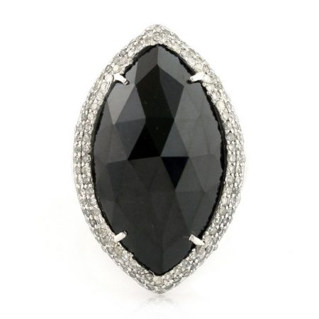 925 sterling silver Jewelry Gems Trade Mart Black Spinel Pave Diamond 1.17 Cts Cocktail ring