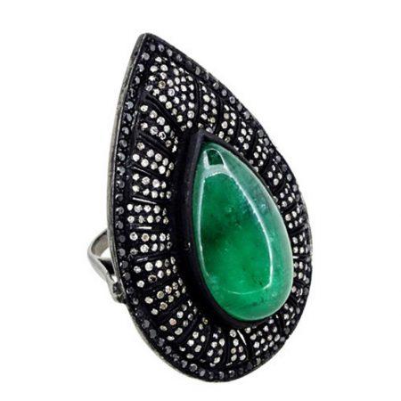 925 sterling silver Jewelry Gems Trade Mart Emerald Pave Diamond 1.45 Cts new design bezel set gemstone drop ring