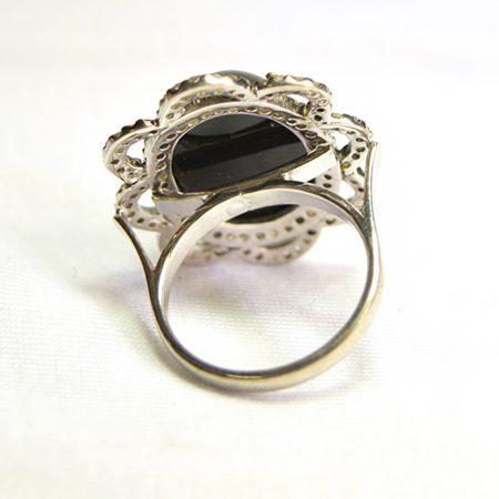 92.5 Sterling Silver Diamond Gemstone Earring, Silver Diamond Ring