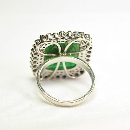 925 Sterling Silver Emerald & Sapphire Women Fashion Diamond Ring, Silver Ring Jewelry