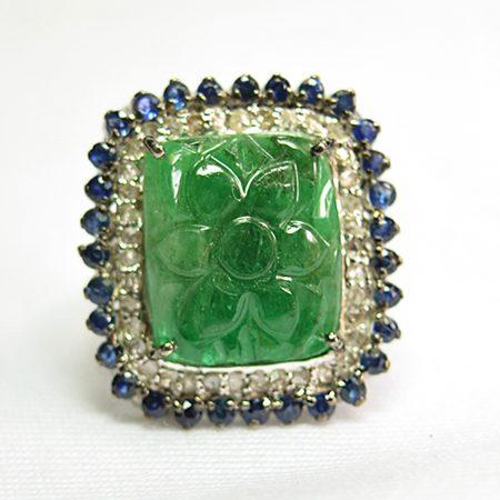 925 Sterling Silver Emerald & Sapphire Women Fashion Diamond Ring, Silver Ring Jewelry