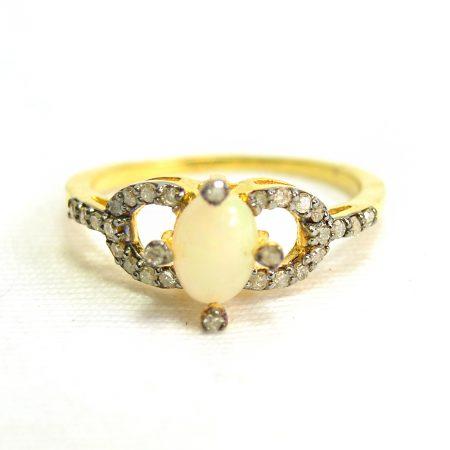 925 Sterling Silver Diamond Ring, Gold Plating Pave Diamond Gemstone ring