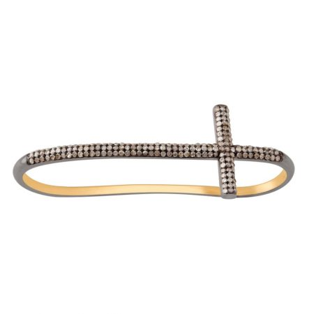 Cross Sign Palm Bracelet Natural Pave Diamond 925 Sterling Silver