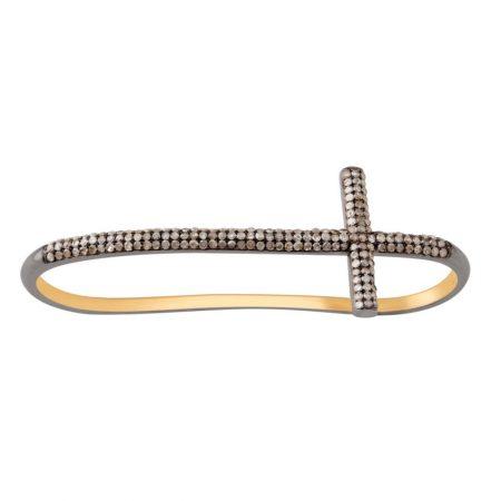 Cross Sign Palm Bracelet Natural Pave Diamond 925 Sterling Silver