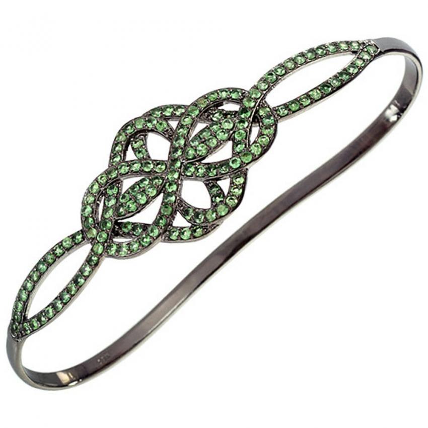 Tsavorite 925 Sterling Silver Floral Design Palm Bracelet