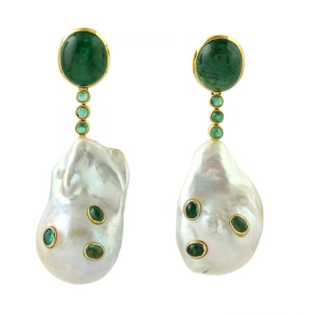 18k Yellow Gold Natural Pearl Emerald Dangle Earrings Gemstone Jewelry