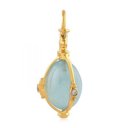 Aquamarine Diamond 18k Solid Yellow Gold Designer Charms Pendant Jewelry