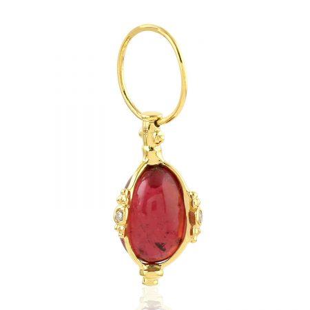 Pink Tourmaline 18k Yellow Gold Diamond Charms Pendant Women Jewelry