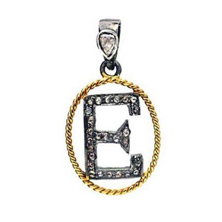 "14k Yellow Gold Diamond Initial ""E"" Pendant Handmade Jewelry"