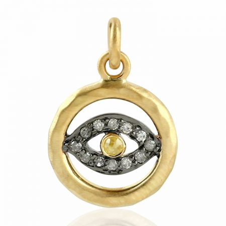 14kt Gold Pave Diamond Evil Eye Charm Pendant 925 Sterling Silver Jewelry
