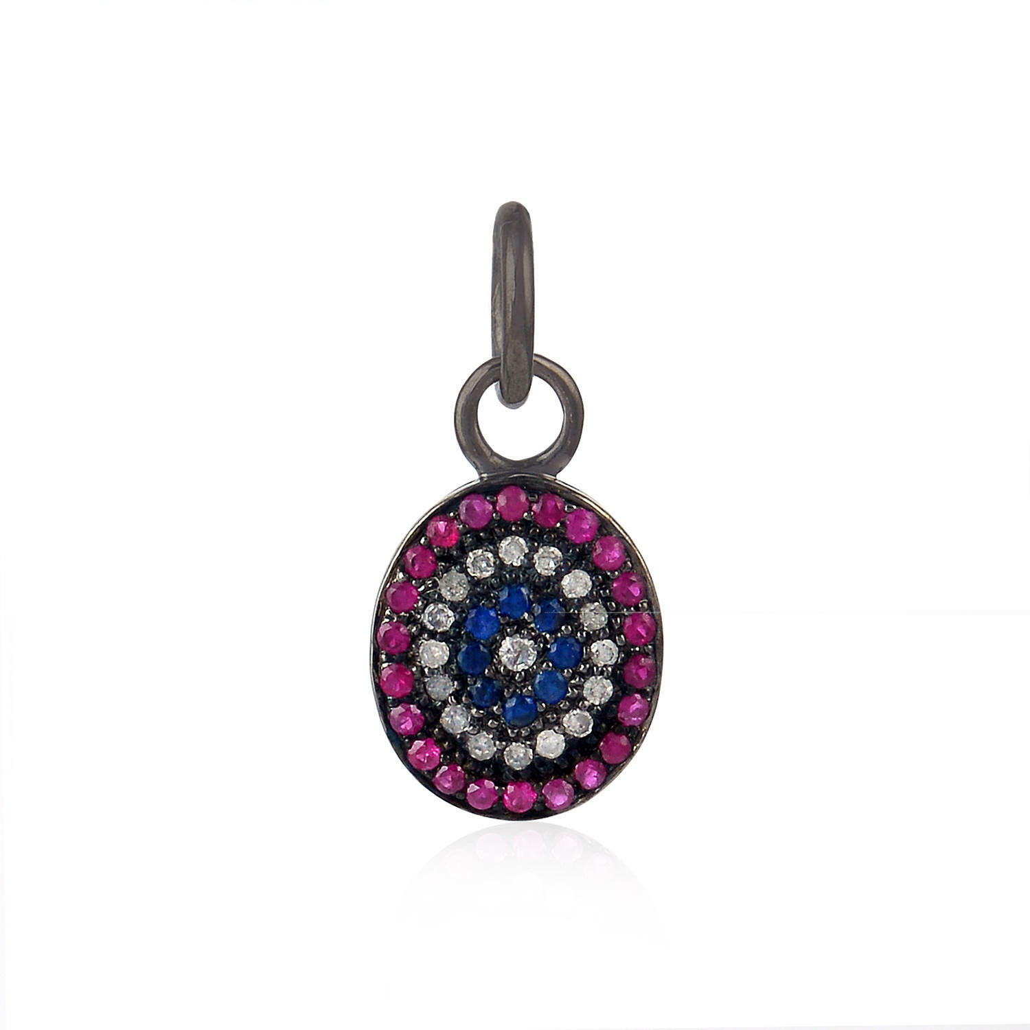 Pendant Charms Ruby Diamond Sterling Silver Jewelry