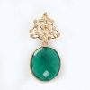 Green Onyx Gemstone Pave Diamond 18K Yellow Gold Pendant Jewelry