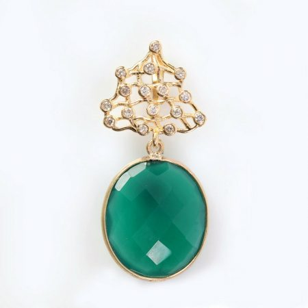 Green Onyx Gemstone Pave Diamond 18K Yellow Gold Pendant Jewelry