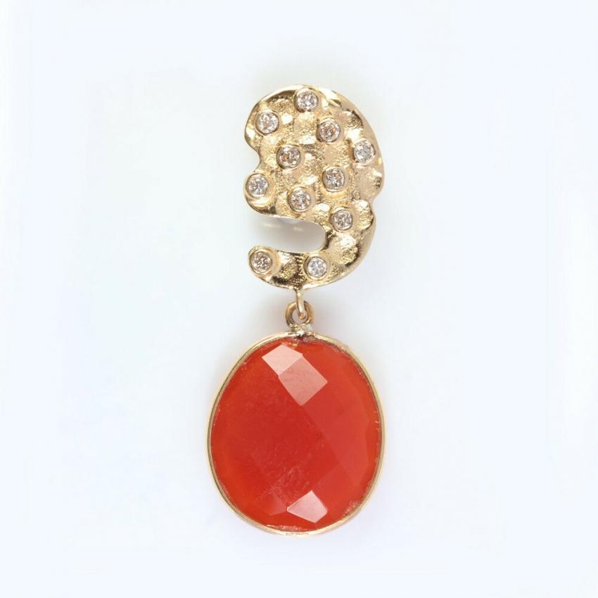 Orange Onyx Gemstone Pave Diamond 18K Yellow Gold Pendant Jewelry