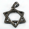 Pave Diamond Star Of David Pendant 925 Sterling Silver Vintage Jewelry
