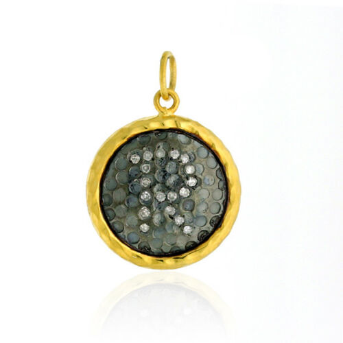"""""""R"""" Charm Pendant Pave Diamond 18K Gold 925 Sterling Silver Jewelry"""