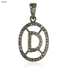 """Vintage Look Pave Diamond Initial """"D"""" Charm Pendant 925 Sterling Silver Jewelry"""