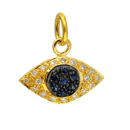 Pave Diamond 14K Solid Gold Symbol Evil Eye Charms Pendant Jewelry