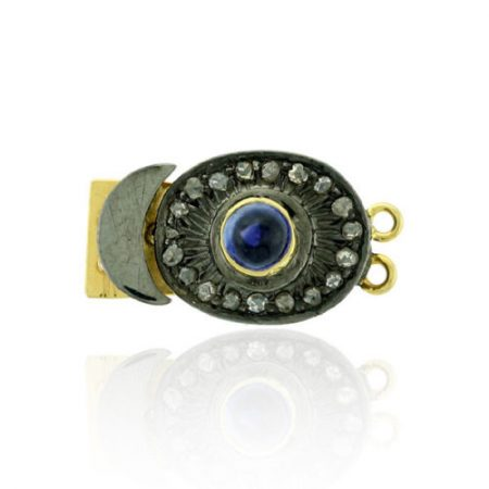 925 Sterling Silver Blue Sapphire Pave Diamond Lock Finding Jewelry