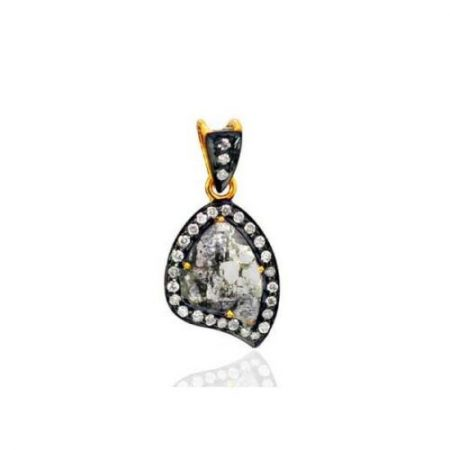 14K Solid Yellow Gold Designer Pendant Diamond Women'S Jewelry Handmade