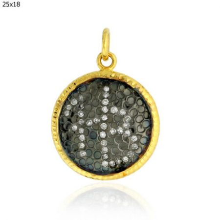 14K Gold Alphabet Disc Pendant 925 Sterling Silver Pave Diamond Handmade Jewelry