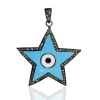 Natural Diamond 925 Sterling Silver Star Pendant Enamel Jewelry