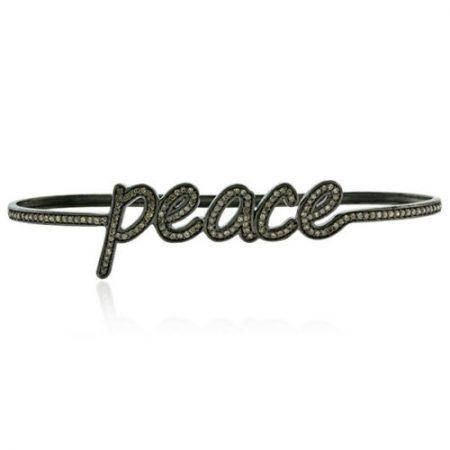 Diamond High Fashion PEACE PALM BRACELET 925 Sterling Silver