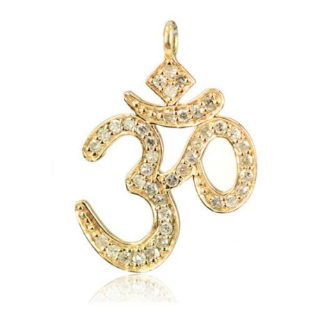 14kt Solid Yellow Gold Pave Diamond Handmade Om Charms Pendant Religious Jewelry