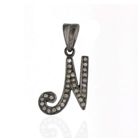"""N"" Pendant Pave Diamond 925 Sterling Silver Women Jewelry"