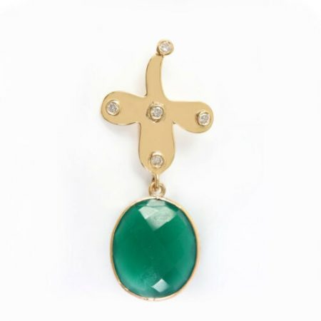 Green Onyx Gemstone 18K Yellow Gold Pave Diamond Pendant Jewelry