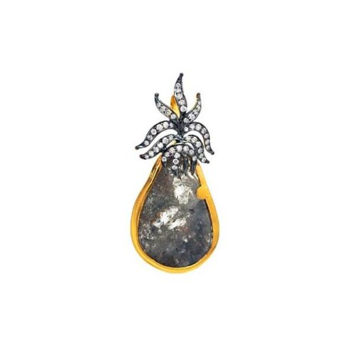 14K Solid Yellow Gold Antique Pendant Natural Slice Diamond Jewelry