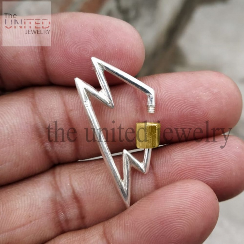 Lighting Bolt Shape Handmade Silver With Gold Plating Barrel Carabiner Lock Sterling Silver Jewelry