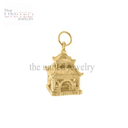 14K Gold Asian Pagoda Engravable Charm Handmade Jewelry